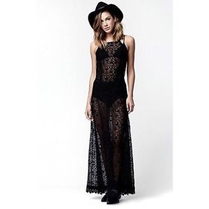 Kendall & Kylie Lace Maxi Halter Sheer Dress